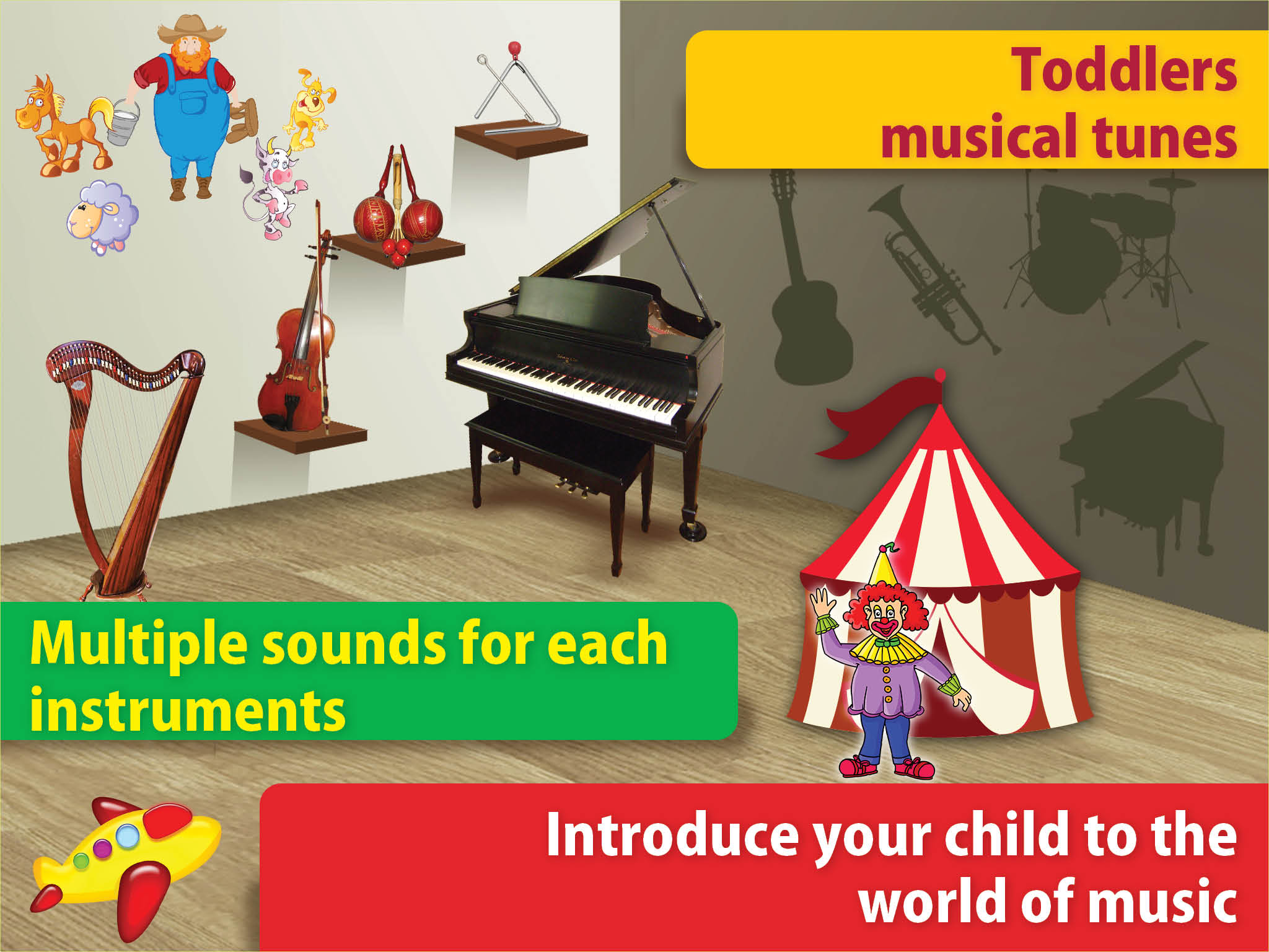musical instruments sounds Tap to play sound box interactive
